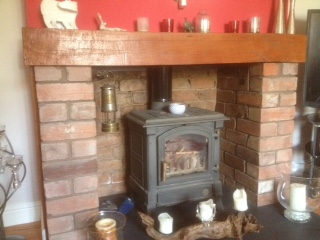 Traditional wood burner fireplace